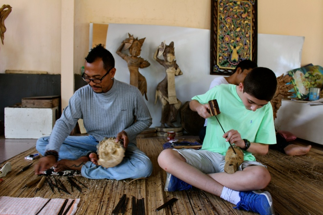 Wood carving, Bali, Indonesia