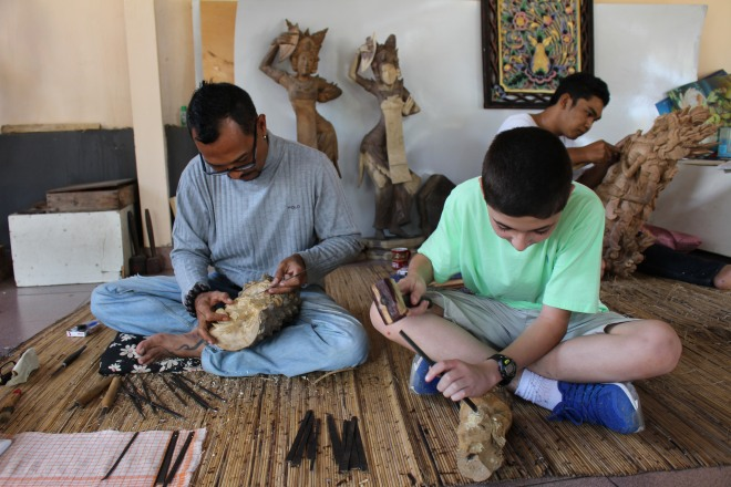 Woodcarving in Bali, Indonesia